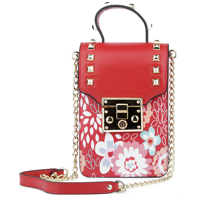 Bolsas Feminina New Arrivals Luxurious 100% Cowhide Leather Fashion Flower Female Messenger Bags Vertical Style Phone Bags 2018 11cls bolsas fashion 100