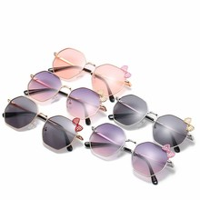 Polygonal Metal Children Sunglasses Bowknot Children sunglasses Colorful Children glasses Kids Sunglasses for Girls цены