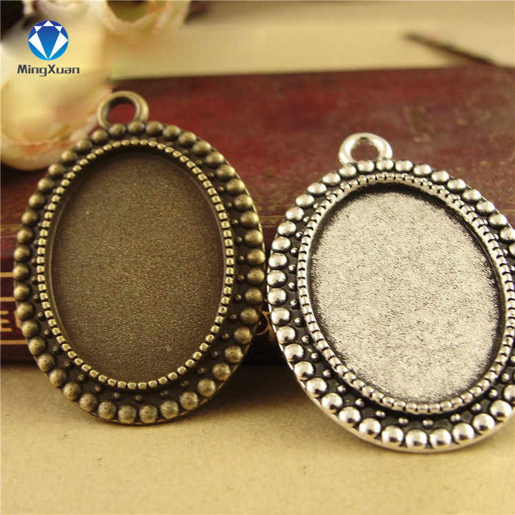 10pcs/lot Antique Bronze Cameo Cabochon Base Oval Pendant Blanks Setting Fit 18*25mm Diy Cabochon Pendant Settings