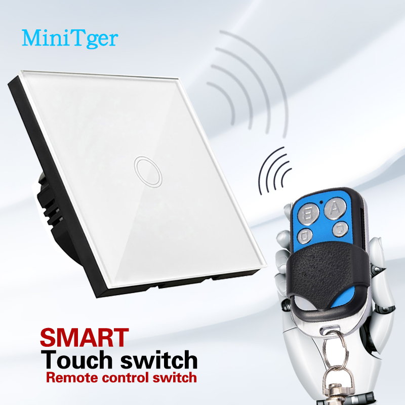 EU UK Standard MiniTiger Smart Home Touch Switch White Crystal Glass Panel Wall Light Switch For