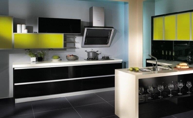 Handvat gratis keuken meubels hoogglans zwart & geel in handvat