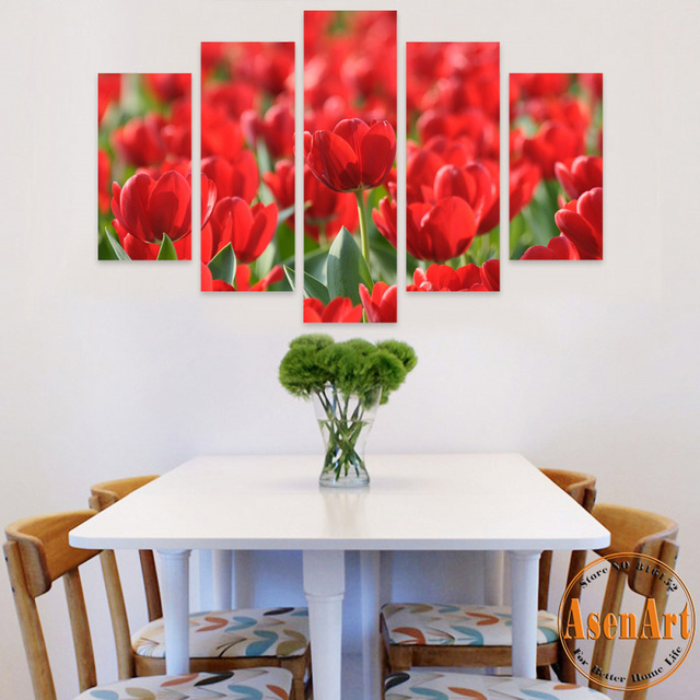 5 Piece Canvas Prints Painting Red Tulips Wall Art Modern Flower Artwork Living Room Dinning Decor Unframed