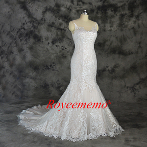 Image 3 - champagne and ivory special lace design wedding dress classic mermaid style wedding gown custom made factory wholesale price