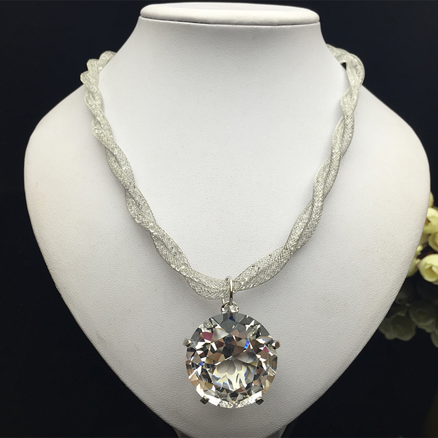 cubic big product choker necklaces women plated zirconia for carat white diamond luxury crystal cm necklace gold round sparkling