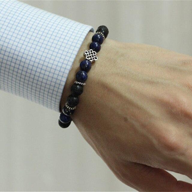 Lapis lazuli Natural Stone Stretch Bracelet with Sterling Silver Beads Wrist Bracelets for Men Pulseira Masculina Man Bracelets