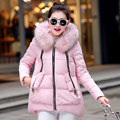 2017 Winter White Duck Down Jacket Women Solid Long Coat Parkas Thicken Warm Female Clothes Raccoon Fur Collar Hooded Overcoat
