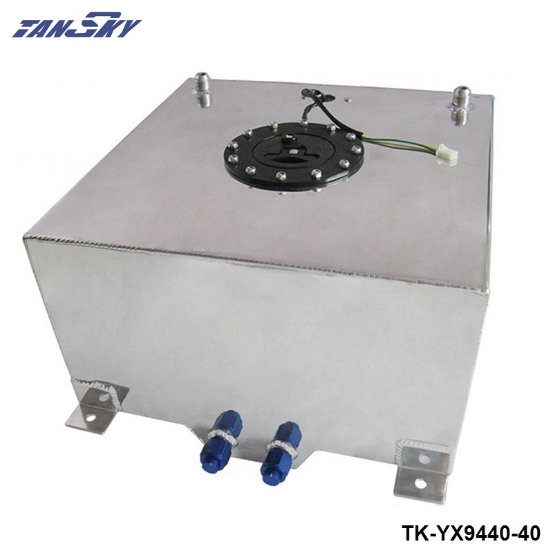 40L Aluminium Fuel CELL TANK polished Twin AN-10 outlets 10 Gal TK-YX9440-40 lzone racing black aluminium fuel surge tank with cap foam inside fuel cell 40l without sensor jr tk21bk