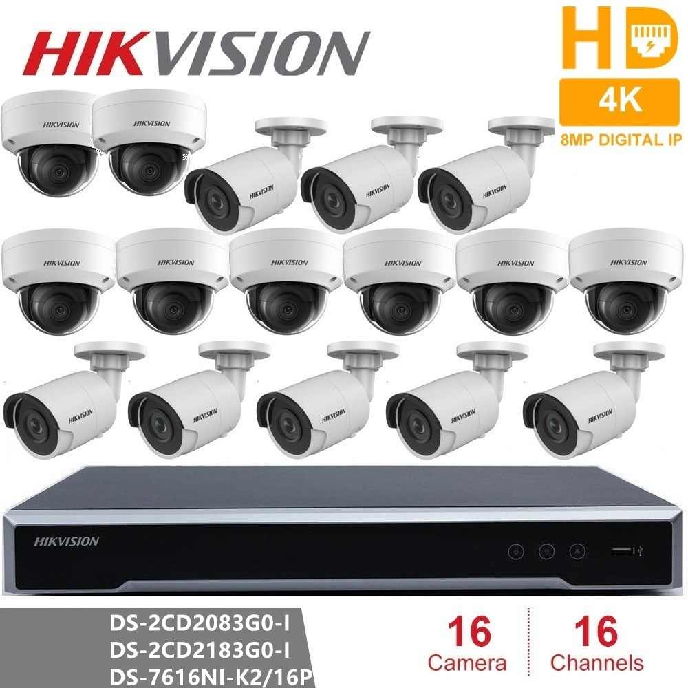 Hikvision 16CH комплект системы охранного видеонаблюдения 8MP камера безопасности Система 16CH POE NVR + 16 шт. 8MP POE IP камера H.265 CCTV Водонепроницаемая