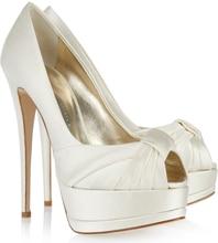 Ivory Satin Wedding Shoes Peep Toe Summer Platform Bridal Pumps Handmade Custom Made Women Sandals Thin High Heels Stilettos