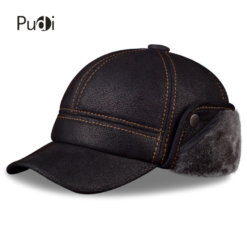 Pudi Men's Scrub Genuine Leather baseball caps hats Faux fur Winter Warm ear flap Hat / Cap black brown camel HL083