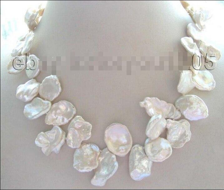 free shipping  >>17  White Reborn Keshi Petal Pearl Necklace ! free shipping  >>17  White Reborn Keshi Petal Pearl Necklace !
