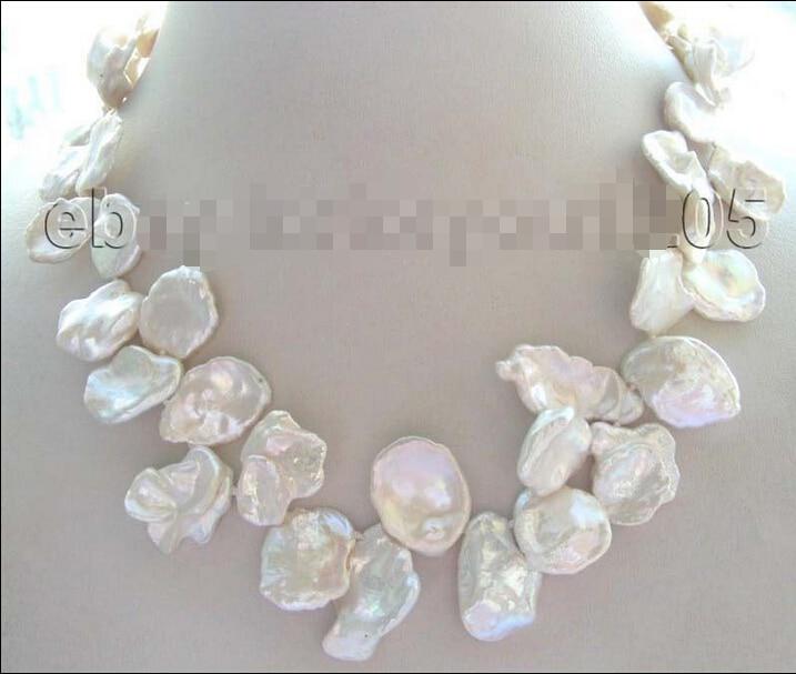 "free shipping >>17"" White Reborn Keshi Petal Pearl Necklace !"