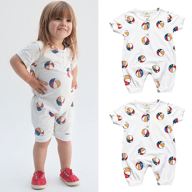3ec219362 2017 Summer style Bobo choses Baby basketball Pattern print baby boys girls Rompers  jumpsuit Kids clothing newborn 1-3 years old