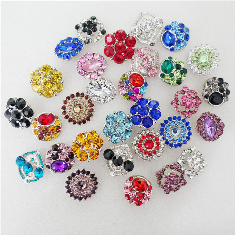 18mm Snap Buttons Multi Crystal Vintage Antique Silver Plating Alloy Metal Colored Rhinestone 100 Pieces Lot