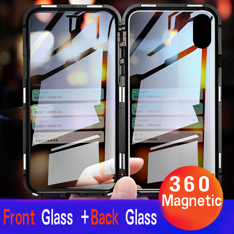 Front +Back 360 Magnetic Adsorption Metal Glass Case For Iphone 7 8 Plus Phone Case For Iphone XR X XS MAX 6 6S Cover Coque Capa