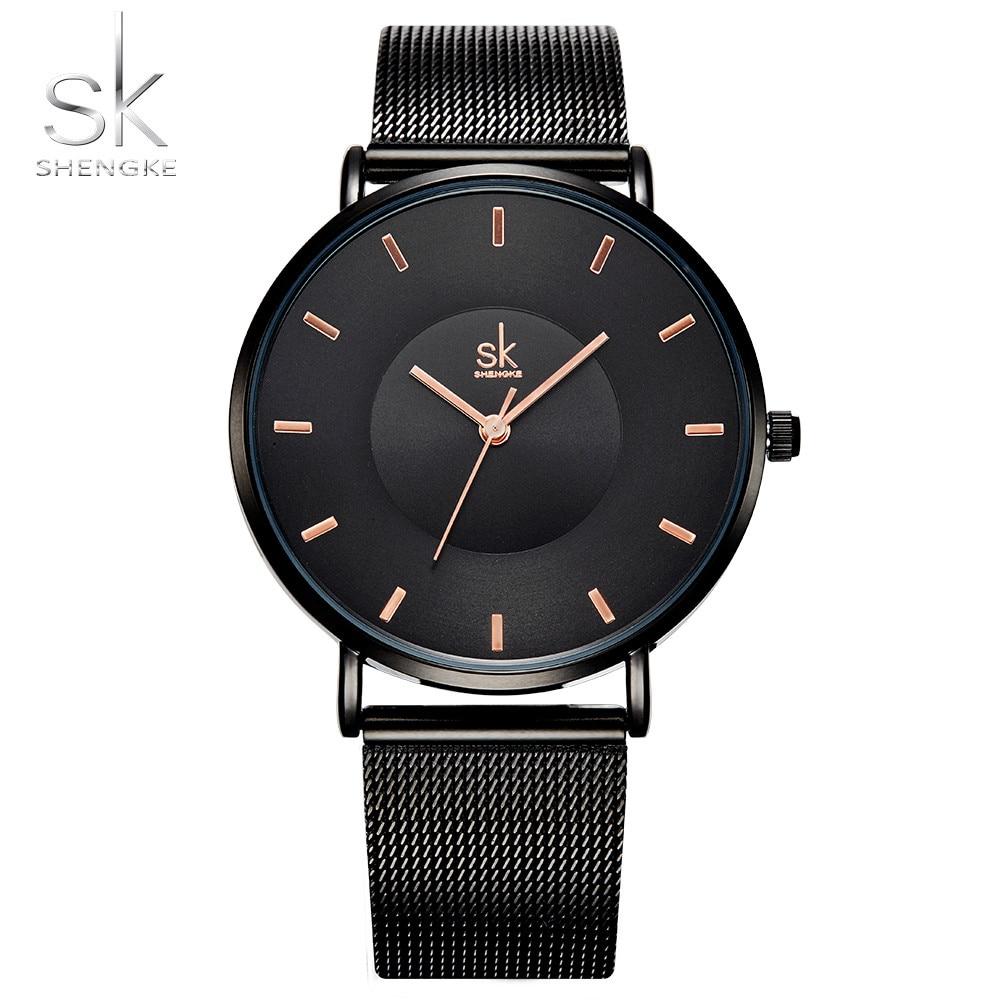 Shengke Fashion Black Women Watches MILAN Band Quality Ultra thin Quartz Watch Woman Elegant Dress Ladies Watch Montre Femme