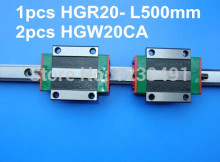 цены 1pcs original hiwin linear rail HGR20- L500mm with 2pcs HGW20CA flange block cnc parts