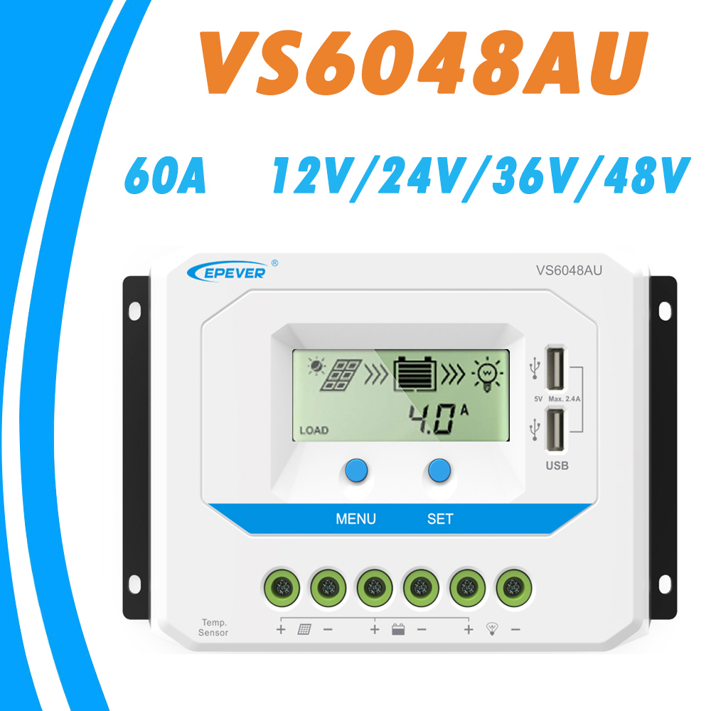 EPEVER 60A Solar Controller 12V 24V 36V 48V Auto VS6048AU PWM Charge Controller with Built in