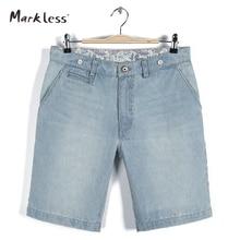 Markless 2016 Summer Stripe Denim Shorts For Mens Male All-match Capris Straight Man Short