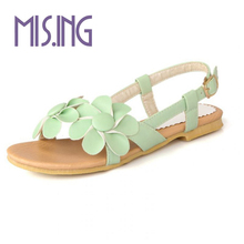 New women shoes fashion flowers beach casual shoes SoftLeather flat shoes Buckle solid Summer shoes Women Sandals big size 34-43