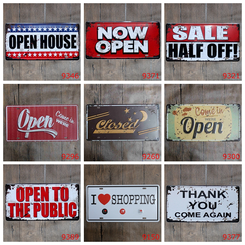 15x30cm vintage license plates OPEN CLOSED SALE HALF OFF PUBLIC SIGNS iron painting wall sticker number plate metal craft