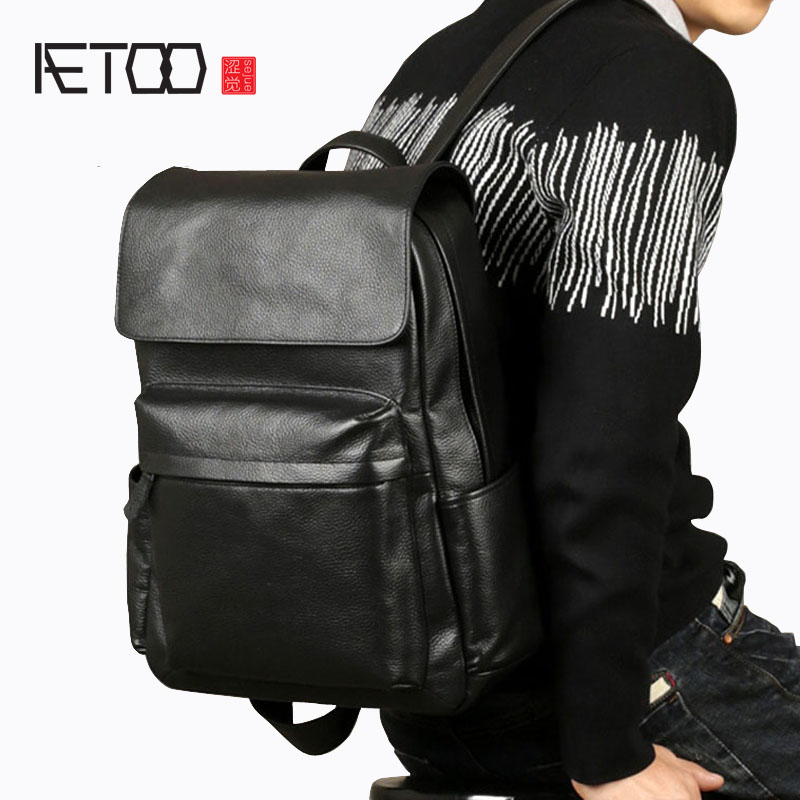 AETOO Leather men's shoulder bag first layer of leather Korean casual college bag black fashion computer bag aetoo first layer of leather shoulder bag female bag korean version of the school wind simple wild casual elephant pattern durab