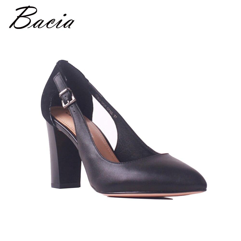 Bacia Sheep Suede & Sheepskin Thick Heels Genuine Leather Pointed Toe Women Pumps High Heel Quality Female Shoes Size35-41 MB035 цена