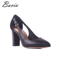 Bacia Sheep Suede & Sheepskin Thick Heels Genuine Leather Pointed Toe Women Pumps High Heel Quality Female Shoes Size35 41 MB035