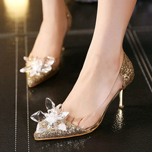 Плюс Размеры туфли Золушки низкий каблук женские Насосы Женские Свадебная вечеринка Обувь тонкий каблук горного хрусталя бабочка Модельные туфли