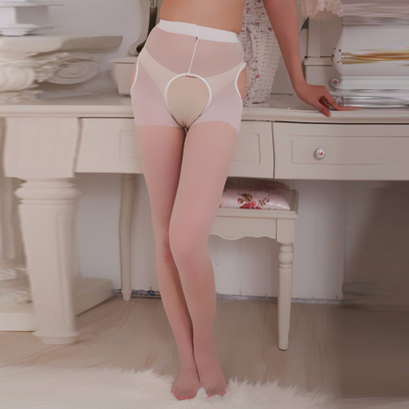 2018 Sexy Womens Ladies Open Crotch Crotchless Sheer Pantyhose Lace Top Garter Silk Stockings Lingerie Tights For Women