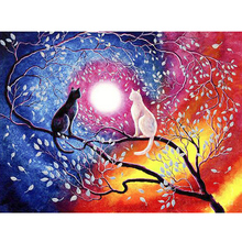 Diy Best seller Diamond Painting Cross Stitch painting full Arts,Crafts of new moon cat home handmade sewing supplies sale