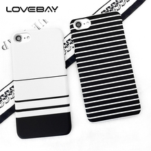 Lovebay Ultra Thin Phone Case For iPhone 7 8 Plus 6 6s Plus 5 5s SE X Fashion Cute Simple Black White Stripes Hard PC Phone Case