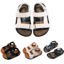 Boys Girls Cork Sandals Shoes For Children Gladiator Soft Leather Beach Non-slip 2019 Summer Kids Roman Flats P25
