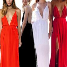2014 New Fashion Sexy Deep V neck Backless Evening Ball Prom Party Long Maxi Beach Dress XE3159#S12