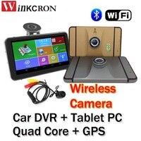 7 Видеорегистраторы для автомобилей GPS навигации регистраторы Планшеты PC mtk8127 4 ядра 1.3 г Bluetooth 2.4 г Беспроводной сзади Камера 1080 P Wi Fi Android 4.4.2
