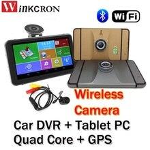 """7 """"Видеорегистраторы для автомобилей GPS навигации регистраторы Планшеты PC mtk8127 4 ядра 1.3 г Bluetooth 2.4 г Беспроводной сзади Камера 1080 P Wi-Fi Android 4.4.2"""