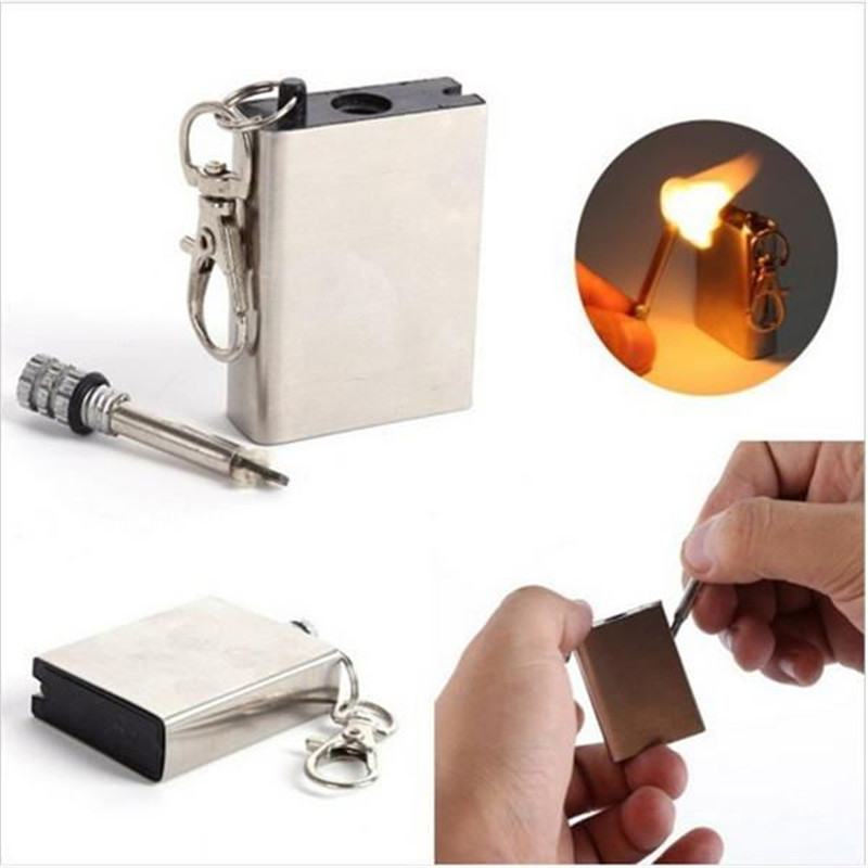Windproof Stainless Steel Permanent Fire Metal Match Lighter Key Rings Chain Camping Hiking Survival