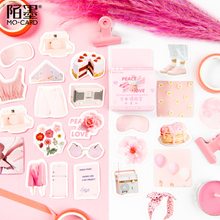 46pcs/pack Pink Girl Please Answer Box-Packed Paper Sticker Label Card New Cute Stationery Stickers