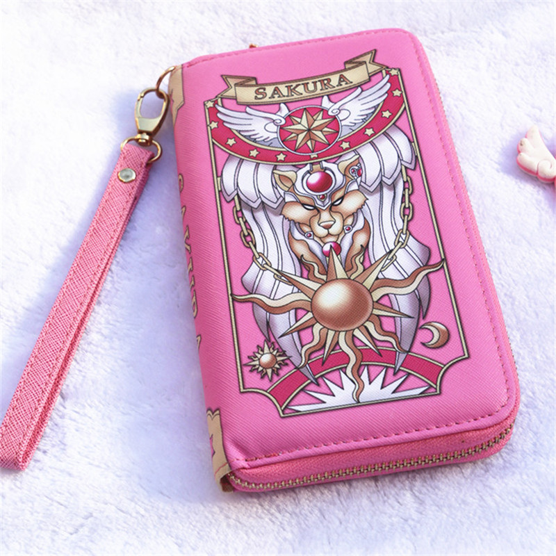Cherry blossom wallet sailor moon PU magic card wallet card crowe wine red pink girl long version of the cute girl girl young an secret key chubby jelly tint pack cherry red цвет cherry red variant hex name df140d