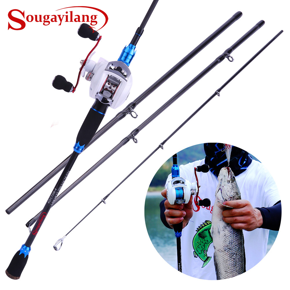 Sougayilang Lure Fishing Rod and Baitcasting Reel Combo 4 Sections Carbon Spinning Rod and 18 1BB