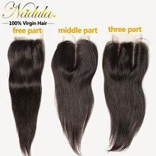 Brazilian Lace Closure 7A Unprocessed 1Bundles Brazilian Straight Hair Closure,Nadula Super Sale Brazilian Hair Weave Closures