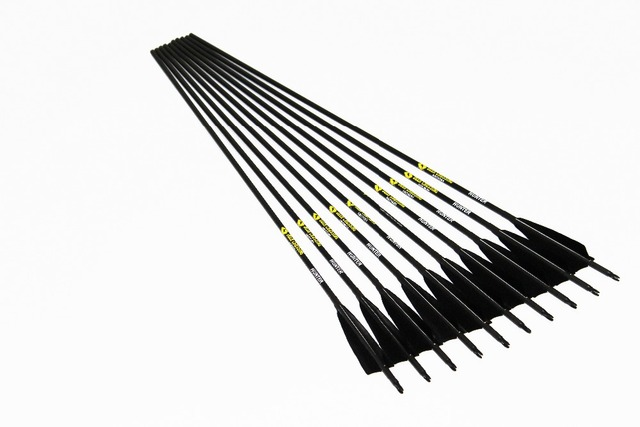 12pcs Lot Carbon Arrow Spine500 Id6 2 With 5 Turkey Fletching