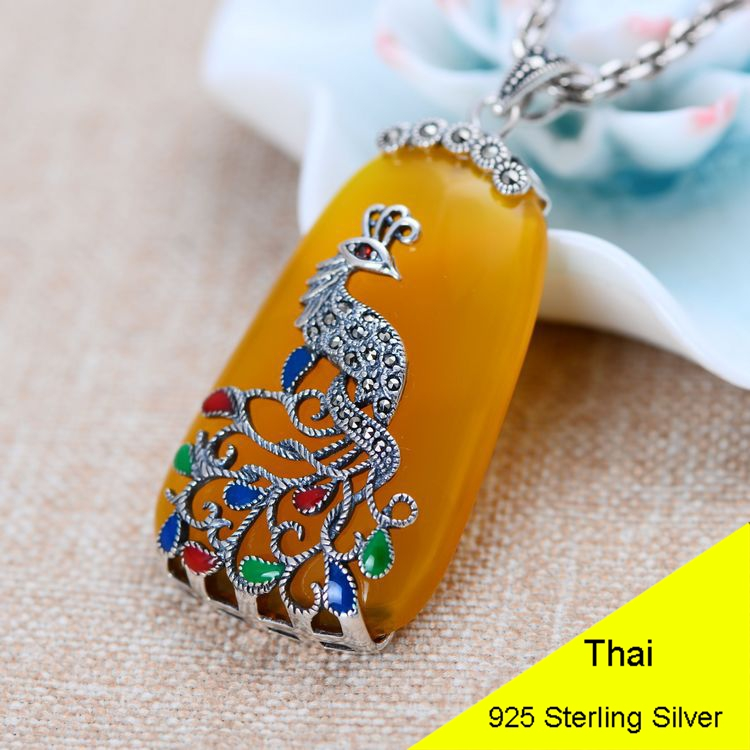 Yellow Chalcedony 925 Sterling Silver Retro Marcasite Peacock Necklace Pendant Women Thai Silver Fine Jewelry Gift CH052775 925 sterling silver women lapis beads yellow chalcedony peacock pendant necklace rope chain thai silver choker jewelry ch057272