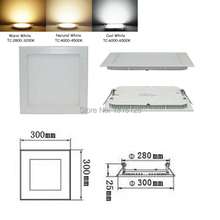 High quality SMD2835 Dimmable  24W LED Recessed ceiling light, Square LED Panel Lights 300mm, Wholesale LED Lamp +free shipping
