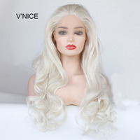 VNICE Long Body Wave Platinum Blonde Synthetic Lace Front Wig for White Women Free Parting 60# Color High Temperature Fiber