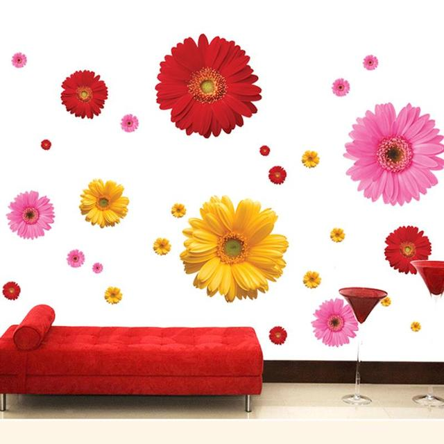 Colorful Flower Floral Wall Stickers Living Room Bedroom Wall Decals Home  Decor Sticker Kitchen Mural