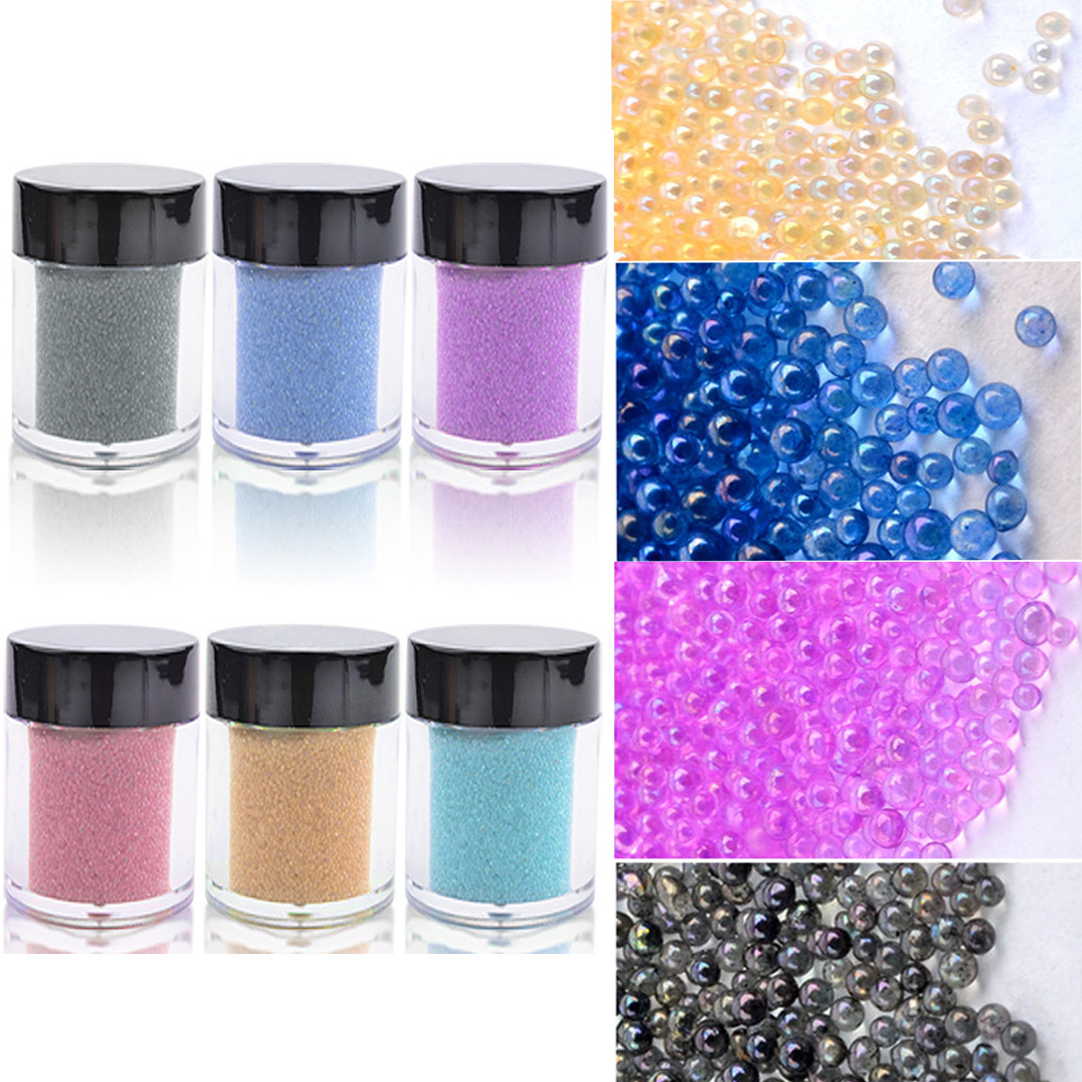 Micro beads for crafting - Nail Glass Bead Glitter Wine Glass Craft Shinny Iridescent Micro Beads Dots Pots Balls Nail Art Gels Nail Art Floristry Dust 10g