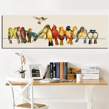 HD Print Horizontal Birds on the Lines Oil painting on Canvas Wall Pop Art Picture Poster for Bedroom Sofa Home Cuadros Decor
