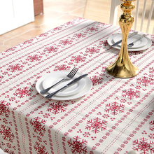 Hot!Tablecloth Arts Cotton Polyester Red Snowflake Christmas Tablecloth Printed Tea Coffee Table Dining New Year Home Decor