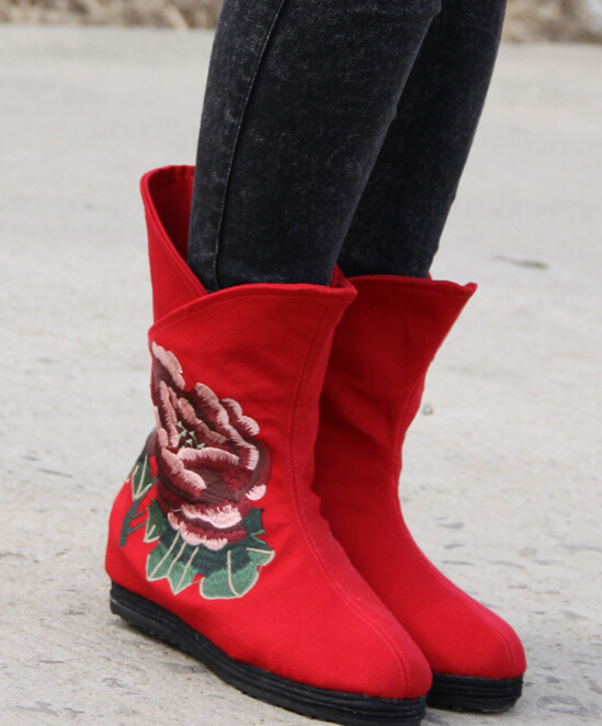 Autumn Winter Women Chinese Style Embroidery Height Increase Elevator Round Toe Fashion National Ankle Boots Size 35-40 SXQ0812